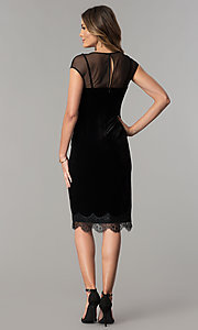 Image of midi short black velvet wedding-guest party dress. Style: IT-111257 Detail Image 3