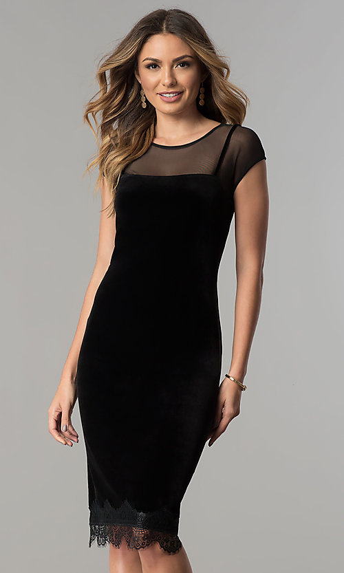 Image of midi short black velvet wedding-guest party dress. Style: IT-111257 Front Image