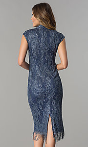 Image of knee-length navy and silver lace wedding-guest dress. Style: IT-197077 Back Image