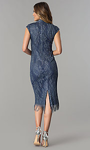 Image of knee-length navy and silver lace wedding-guest dress. Style: IT-197077 Detail Image 3