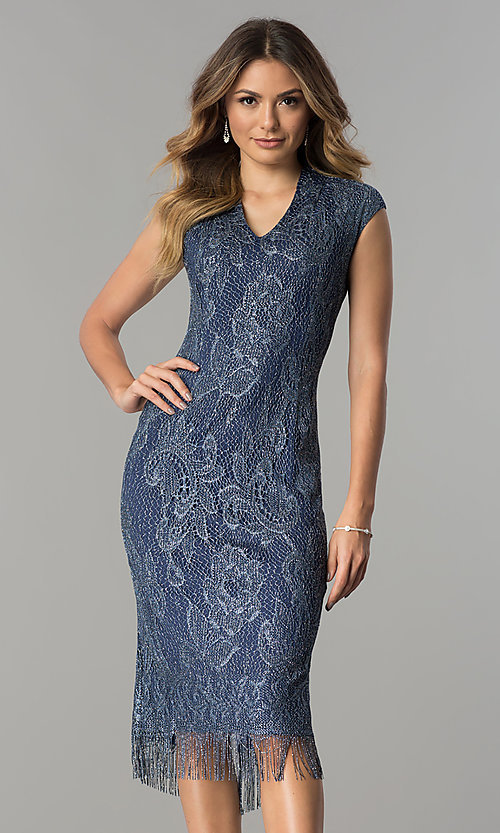 Image of knee-length navy and silver lace wedding-guest dress. Style: IT-197077 Front Image