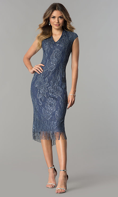 Image of knee-length navy and silver lace wedding-guest dress. Style: IT-197077 Detail Image 2