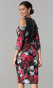 Image of floral-print wedding-guest dress with 3/4 sleeves. Style: JX-1XAL149H Back Image