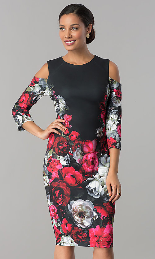 Image of floral-print wedding-guest dress with 3/4 sleeves. Style: JX-1XAL149H Front Image