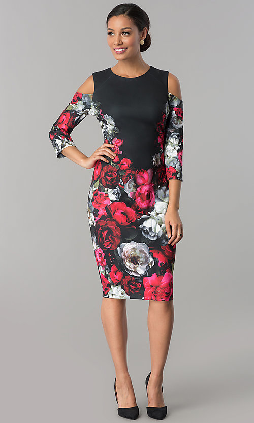 Image of floral-print wedding-guest dress with 3/4 sleeves. Style: JX-1XAL149H Detail Image 1
