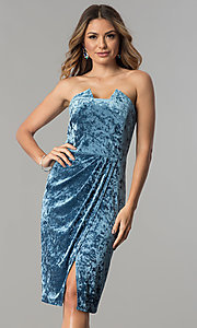 Image of blue velvet short wedding-guest party dress. Style: JX-1ZXA133M Front Image