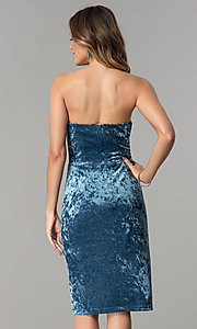 Image of blue velvet short wedding-guest party dress. Style: JX-1ZXA133M Back Image