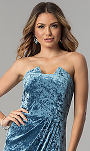 Image of blue velvet short wedding-guest party dress. Style: JX-1ZXA133M Detail Image 1
