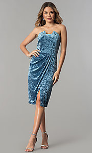 Image of blue velvet short wedding-guest party dress. Style: JX-1ZXA133M Detail Image 2