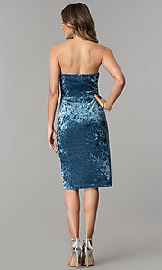 Image of blue velvet short wedding-guest party dress. Style: JX-1ZXA133M Detail Image 3