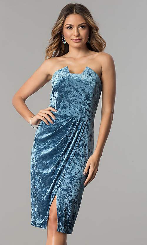 Short Blue Wedding-Guest Dress in Velvet - PromGirl