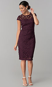 Image of wedding-guest knee-length dress in currant red lace. Style: JX-1ZXS246Q Detail Image 1