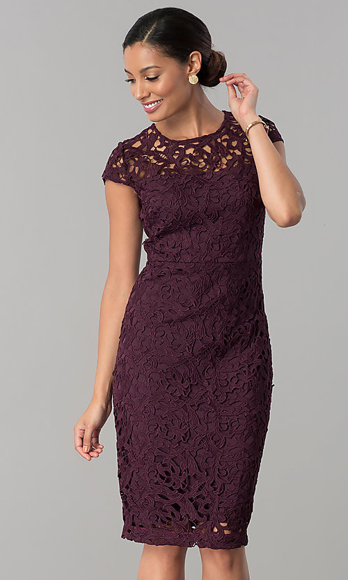Image of wedding-guest knee-length dress in currant red lace. Style: JX-1ZXS246Q Front Image