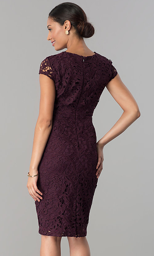 Image of wedding-guest knee-length dress in currant red lace. Style: JX-1ZXS246Q Back Image