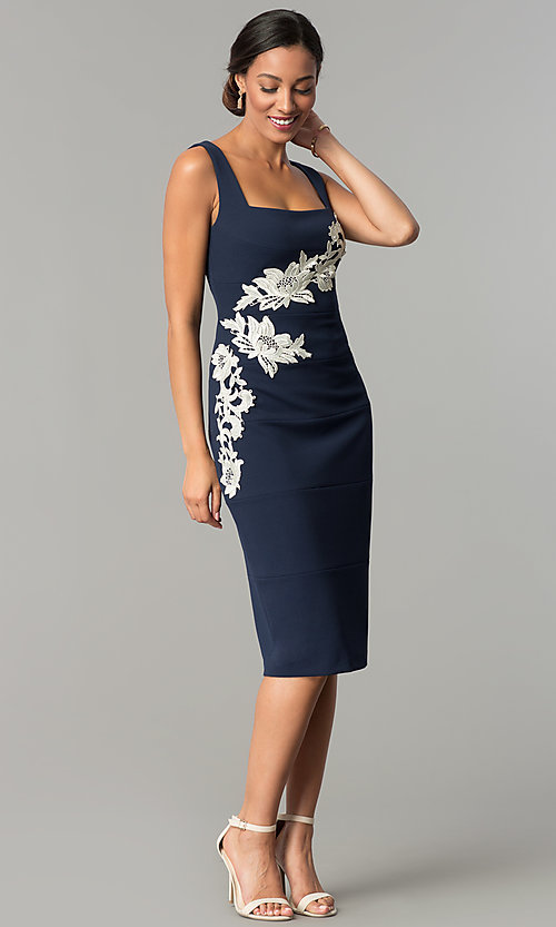 Image of navy blue knee-length sheath wedding-guest dress. Style: JX-1ZQL144H Detail Image 1
