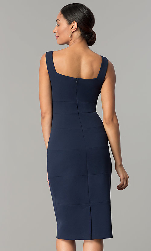 Image of navy blue knee-length sheath wedding-guest dress. Style: JX-1ZQL144H Back Image