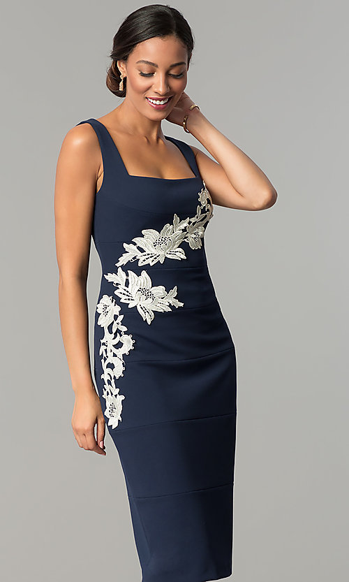 Image Of Navy Blue Knee Length Sheath Wedding Guest Dress Style Jx