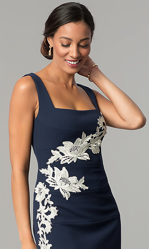 Image of navy blue knee-length sheath wedding-guest dress. Style: JX-1ZQL144H Detail Image 2