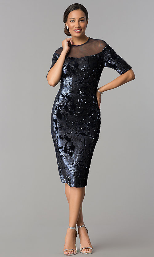Image Of Short Navy Wedding Guest Dress In Velvet Sequin Style Jx 1zxc134m