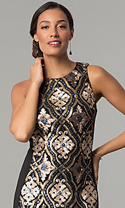 Image of black knee-length holiday sequin sheath dress. Style: JX-1XAJ281Q Detail Image 1