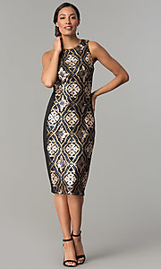 Image of black knee-length holiday sequin sheath dress. Style: JX-1XAJ281Q Detail Image 2