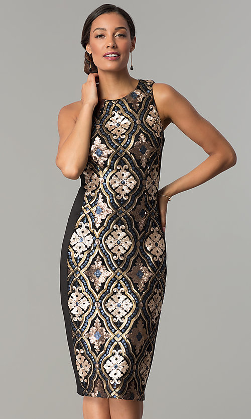 Image of black knee-length holiday sequin sheath dress. Style: JX-1XAJ281Q Front Image