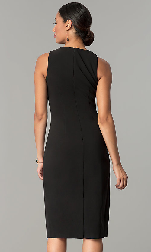 Image of black knee-length holiday sequin sheath dress. Style: JX-1XAJ281Q Back Image
