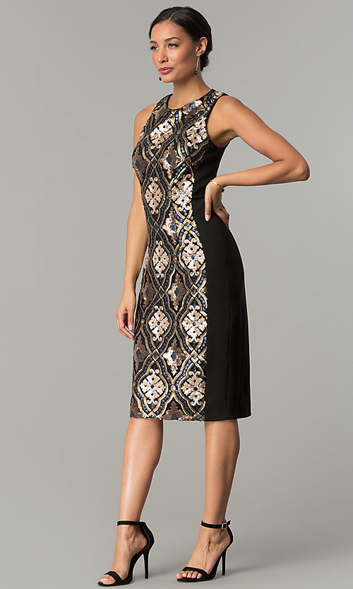 Image of black knee-length holiday sequin sheath dress. Style: JX-1XAJ281Q Detail Image 3