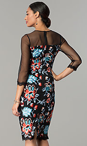 Image of embroidered illusion sheath party dress by Jax. Style: JX-1ZZD196Q Back Image