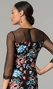 Image of embroidered illusion sheath party dress by Jax. Style: JX-1ZZD196Q Detail Image 2