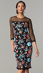 Embroidered Illusion Sheath Party Dress by Jax