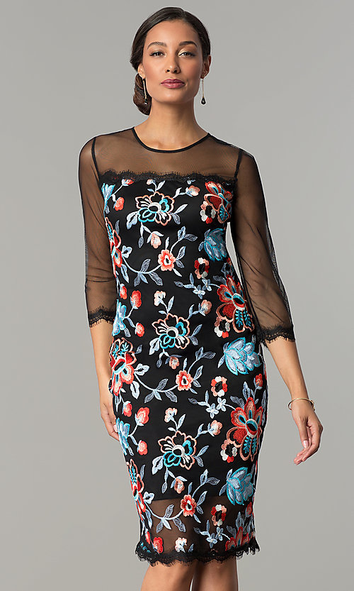 Image of embroidered illusion sheath party dress by Jax. Style: JX-1ZZD196Q Front Image