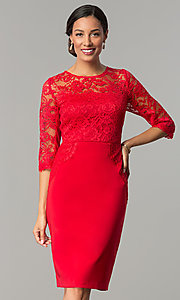 Short Knee-Length Ruby Red Holiday Dress with Lace