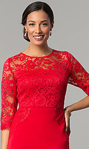 Image of ruby red jersey and lace holiday party dress. Style: JX-1ZOB191J Detail Image 1