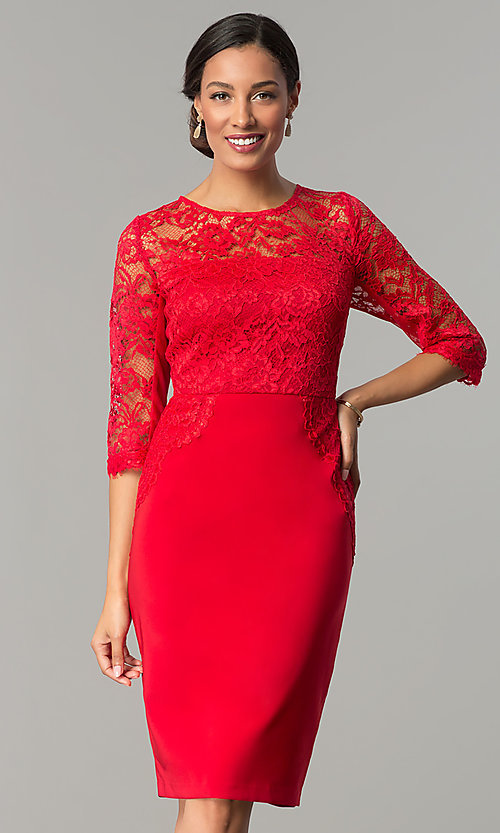 Image of ruby red jersey and lace holiday party dress. Style: JX-1ZOB191J Front Image