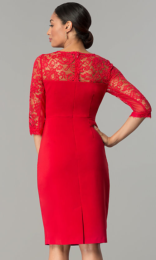 Image of ruby red jersey and lace holiday party dress. Style: JX-1ZOB191J Back Image