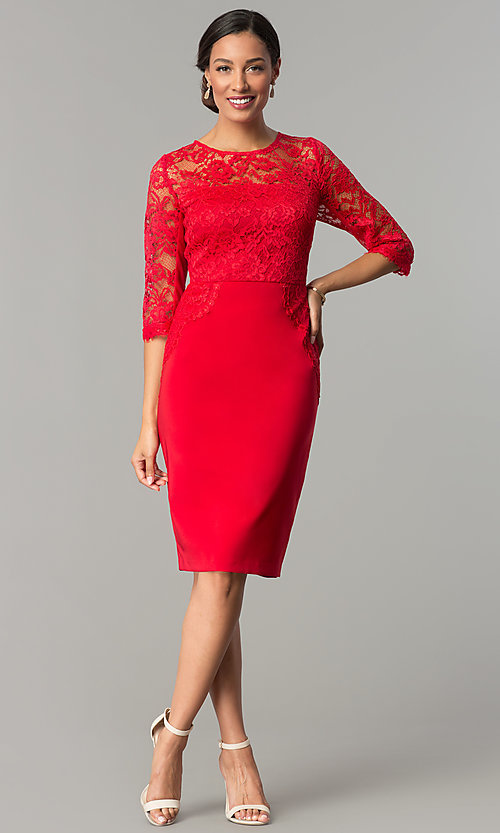 Image of ruby red jersey and lace holiday party dress. Style: JX-1ZOB191J Detail Image 2