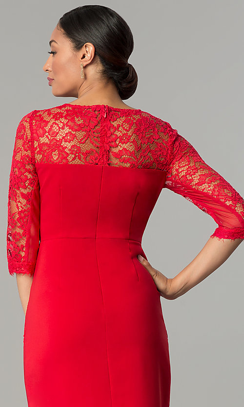 Image of ruby red jersey and lace holiday party dress. Style: JX-1ZOB191J Detail Image 3