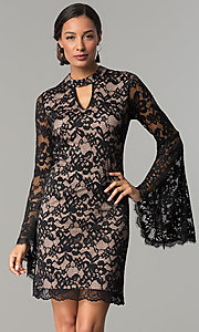Black and Nude Short Lace Party Dress with Sleeves