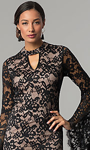 Image of black and nude short lace party dress with sleeves. Style: JX-1ZBK295Q Detail Image 1