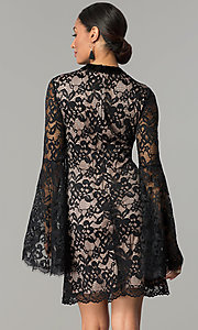 Image of black and nude short lace party dress with sleeves. Style: JX-1ZBK295Q Back Image