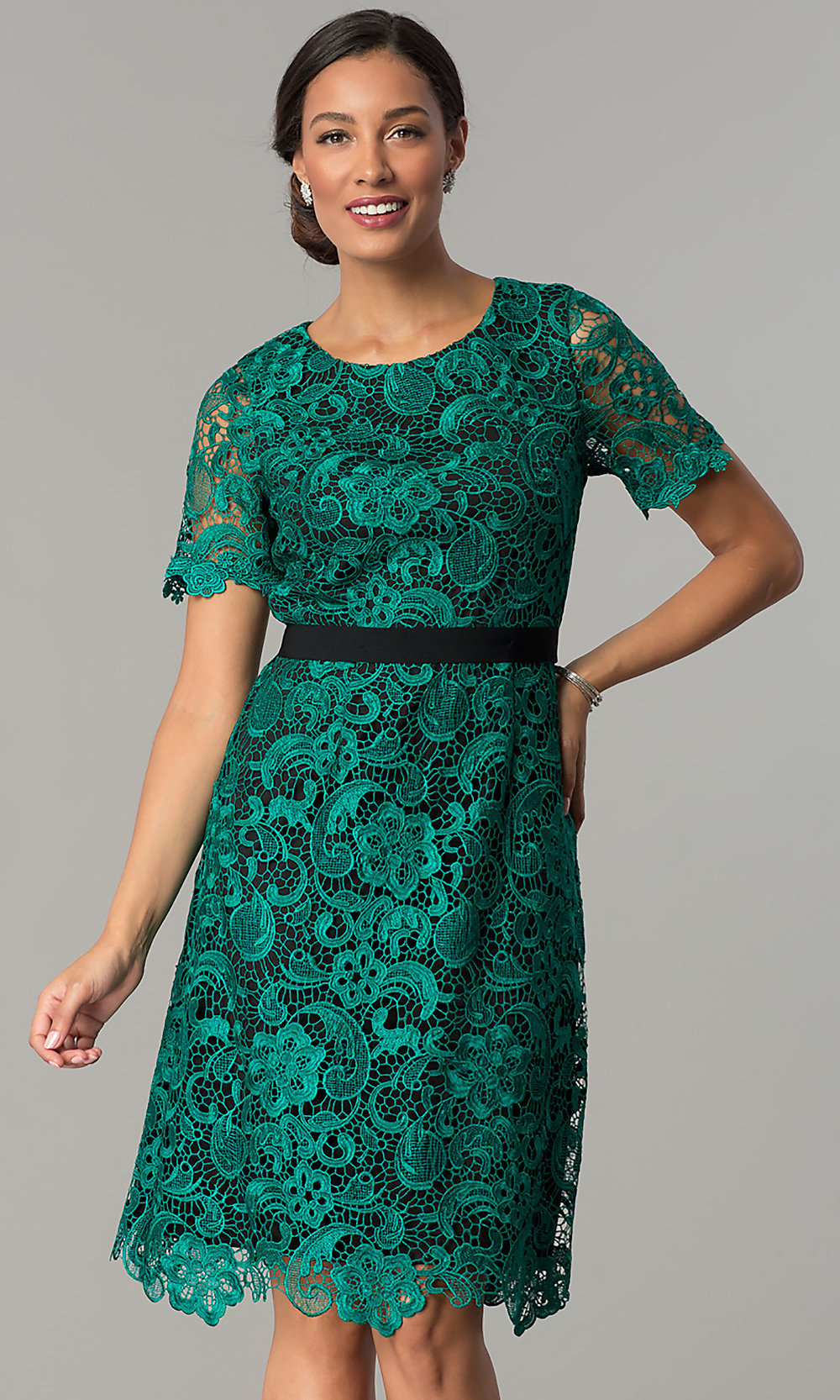Sleeved Emerald Green Lace Party Dress - PromGirl