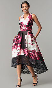 Image of high-low print wedding-guest dress with lace. Style: SG-SBXI329 Front Image