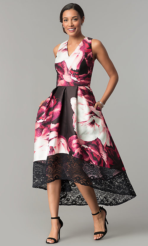 satin print high low wedding guest dress promgirl