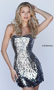 Image of strapless sequin Sherri Hill homecoming dress. Style: SH-51547 Detail Image 1