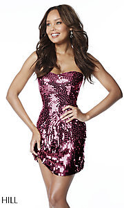 Image of strapless sequin Sherri Hill homecoming dress. Style: SH-51547 Detail Image 3