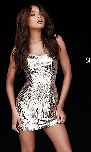 Image of strapless sequin Sherri Hill homecoming dress. Style: SH-51547 Detail Image 2