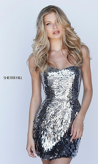 Strapless Sequin Sherri Hill Homecoming Dress