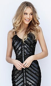 Image of Sherri Hill short sequin homecoming dress. Style: SH-51363 Detail Image 2