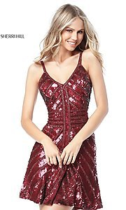 Image of Sherri Hill short sequin homecoming dress. Style: SH-51363 Front Image